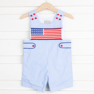 Light Blue Striped Americana Smocked Shortalls