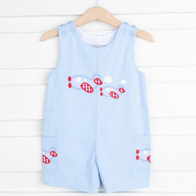 Blue Airplane Pocket Shortalls