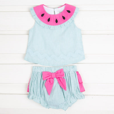 Pink and Green Watermelon Top and Ruffle Bloomer Set