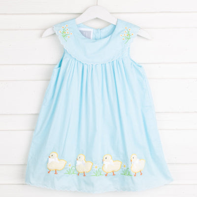 Light Blue Voile Fuzzy Baby Chicks Yoke Dress