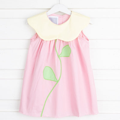 Pink and Yellow Voile Flower Collar Yoke Dress