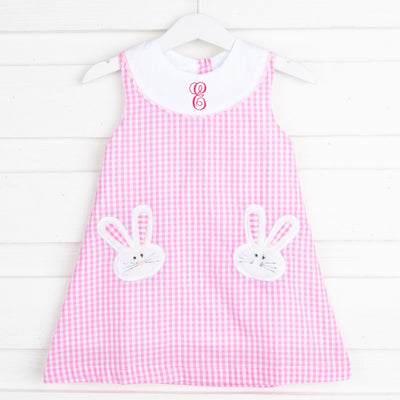 Pink Gingham Fuzzy Bunnies Applique Swing Dress