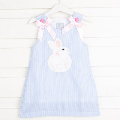 Blue Seersucker Fuzzy Bunny Applique Swing Dress