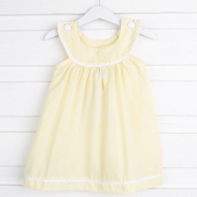 Pastel Yellow Seersucker Yoke Dress