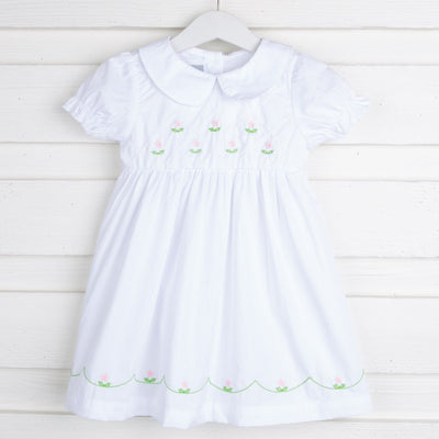 White Hand-Stitched Flowers A-Line Dress