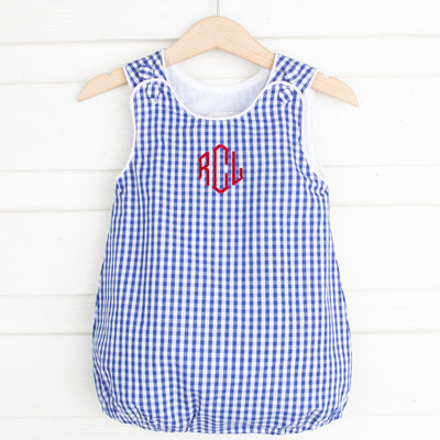 Royal Blue Gingham Boys Sun Bubble