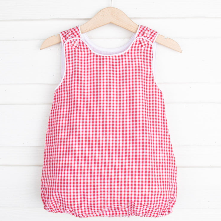 Red Gingham Boys Sun Bubble