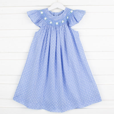 Geometric Smocked Swiss Dot Chambray Dress