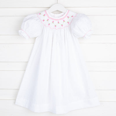Swiss Dot Geometric Smocked Bishop White