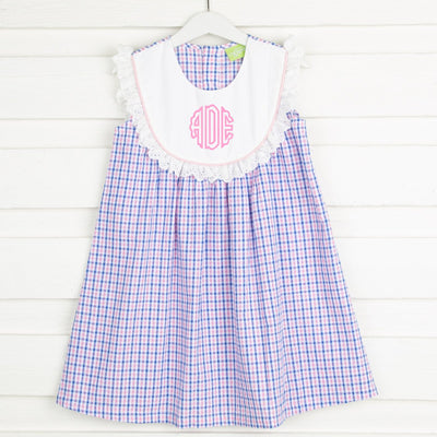 Pink and Blue Check Bib Dress