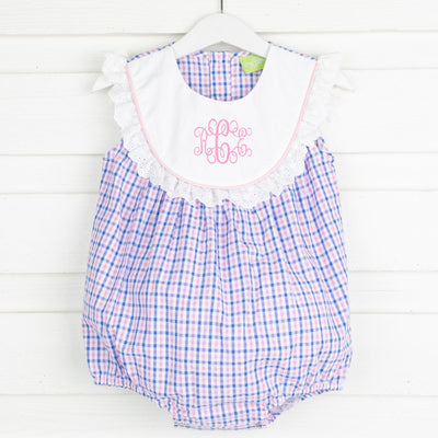 Pink and Blue Check Bib Bubble