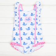 Whale Print One Piece Swimsuit