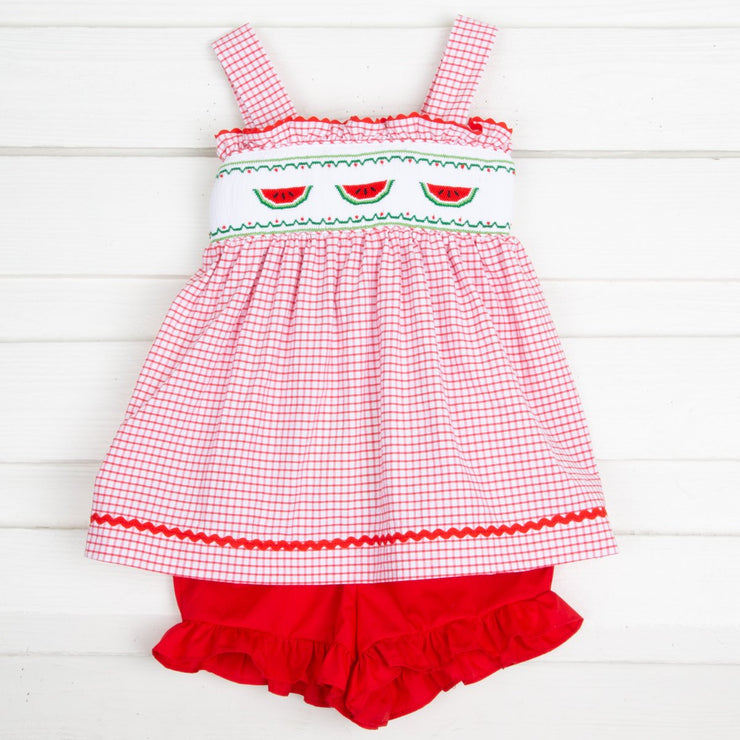 Watermelon Smocked Tie Back Short Set Red Windowpane Seersucker