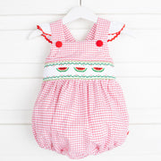 Watermelon Smocked Ruffle Bubble Red Windowpane Seersucker