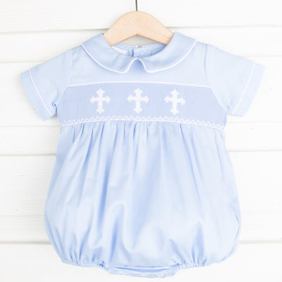 White Cross Smocked Boy Bubble Light Blue Pique