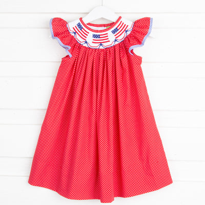 Flag Smocked Dress Red Dot