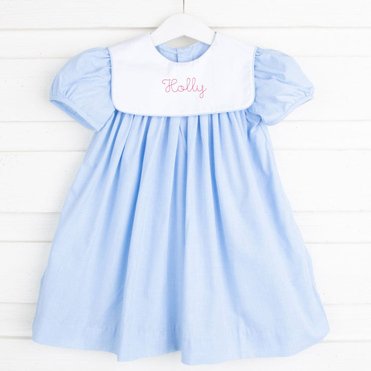 Light Blue Gingham Bib Collared Dress