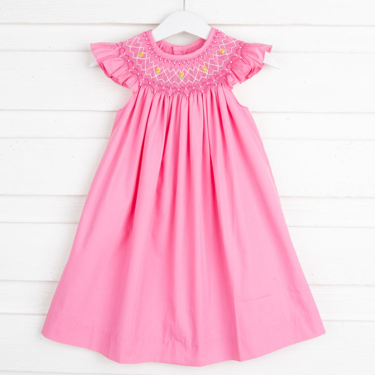 Geometric Smocked Dress Hot Pink