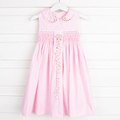 Collared Smocked Dress Embroidered Pink