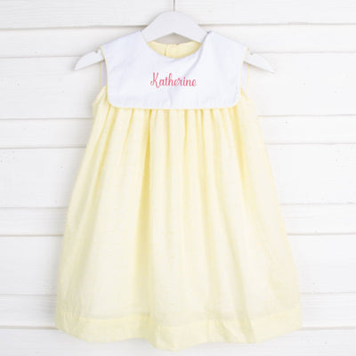 Yellow Swiss Dot Bib Collared Dress