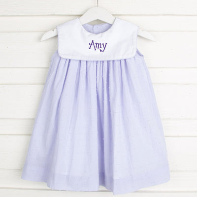 Lavender Swiss Dot Bib Collared Dress