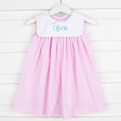 Pink Gingham Bib Collared Dress