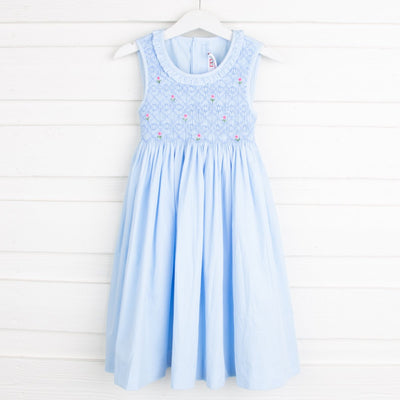 Light Blue Geometric Smocked Chest Dress