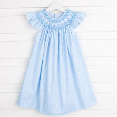 Geometric Smocked Dress Light Blue Dot