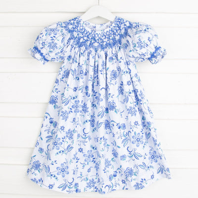 Geometric Smocked Paisley Dress Blue