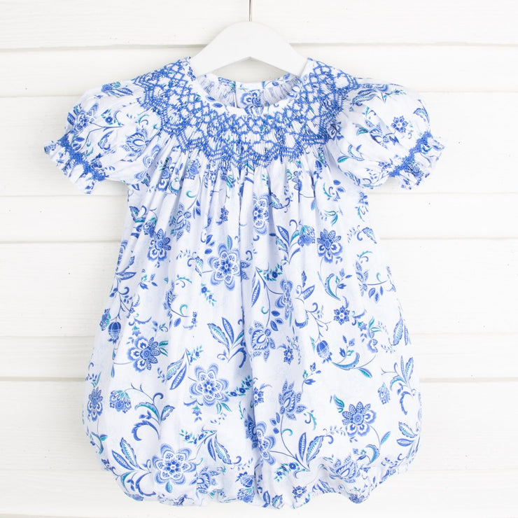 Geometric Smocked Paisley Blue Bubble