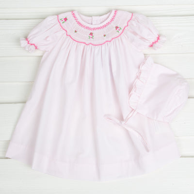 Rosette Smocked Bishop Light Pink