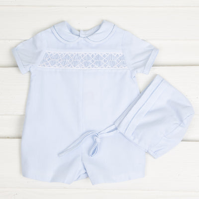 Light Blue Geometric Smocked Boy Romper