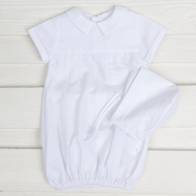 Cross Embroidered Boy Bubble White