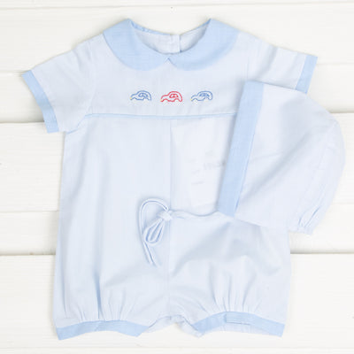 Car Embroidered Boy Bubble Light Blue