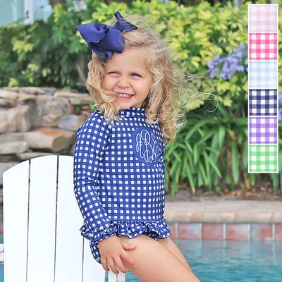Gingham Long Sleeve Rash Guard Set