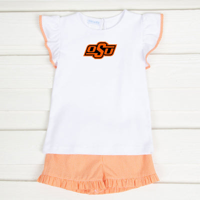 Embroidered Oklahoma State Short Set Gingham