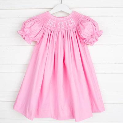Smocked Big Sister Pink Dress