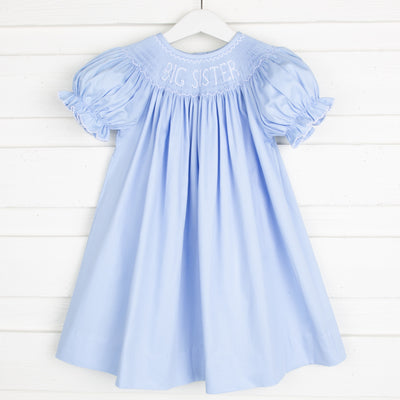 Smocked Big Sister Bishop Light Blue Pique
