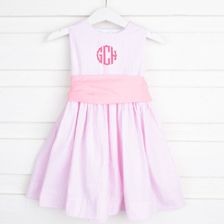 Sash Dress Pink Seersucker Stripe