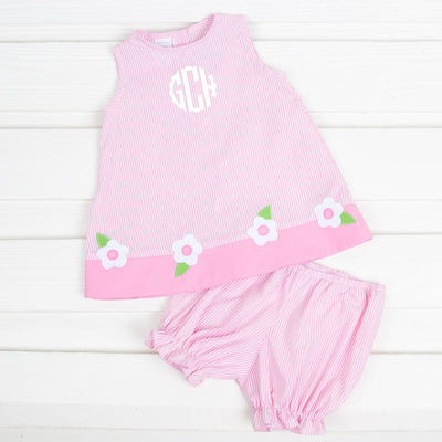 Applique Flower Sleeveless Bloomer Set Pink