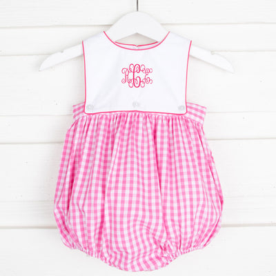 Hot Pink Check Monogrammable Bib Bubble