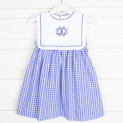 Bib Dress Royal Blue Check