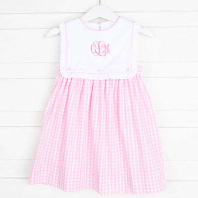 Bib Dress Light Pink Check