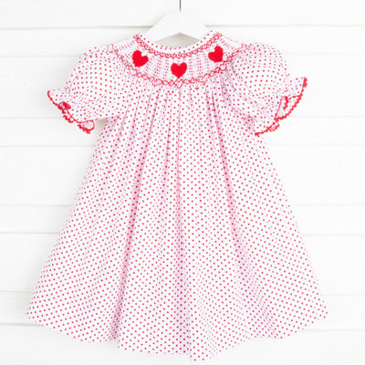 Heart Smocked Bishop Red Dot