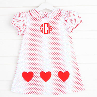 Heart Applique Sally Dress Red Dot