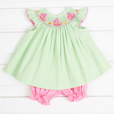 Sailboat Smocked Bloomer Set Lime Green Seersucker Check