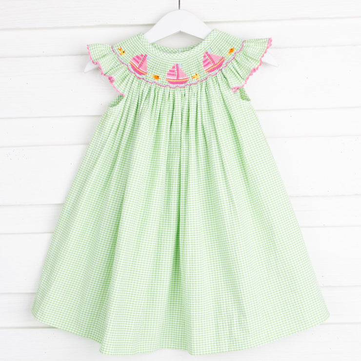 Sailboat Smocked Dress Lime Green Seersucker Check