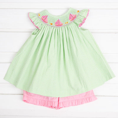 Sailboat Smocked Short Set Lime Green Seersucker Check