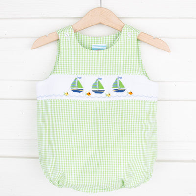 Sailboat Smocked Sun Bubble Lime Green Seersucker Check
