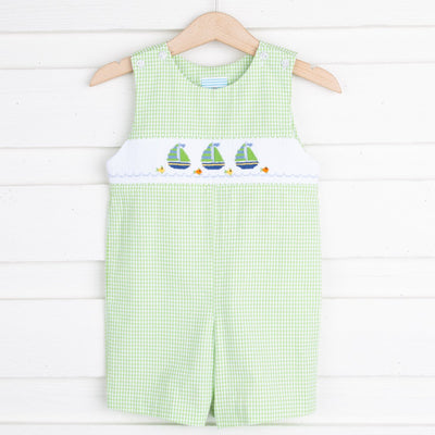 Sailboat Smocked Jon Jon Lime Green Seersucker Check